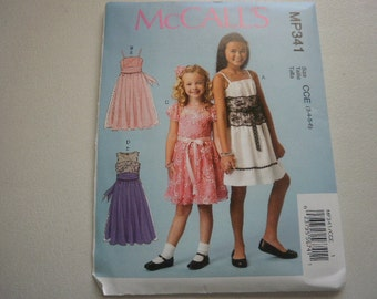 Pattern Girls Dresses 4 Styles Sizes 3-4-5-6 McCalls P341
