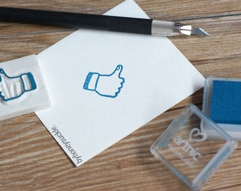 hand rubber stamp, facebook like thumb signal hand carved rubber stamp, fingers rubber stamp, social media stamp, hand stamp