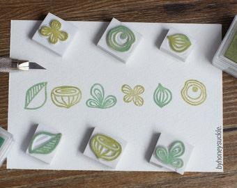 leaf rubber stamp set. leaf stamp. rubber stamp. hand carved rubber stamp. stamp. autumn rubber stamp. flower stamp
