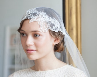 Juliet Cap Veil with Beaded lace in Light Ivory, cathedral length veil, chapel length veil, 130s veil, Flapper veil, UK