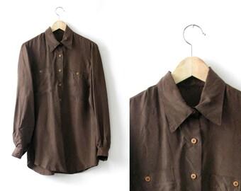 Chocolate brown silk blouse dress - 1990