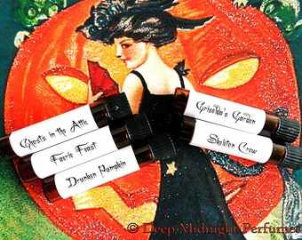 VICTORIAN HALLOWEEN Perfume Sampler Set  #5, Set of FIVE 1 ml vials, Halloween Perfume, Fall perfume