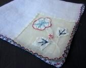 Vintage Hanky, Handkerchief, Applique Flower Inset, Blue and Red Stitched Edge, Fine Cotton