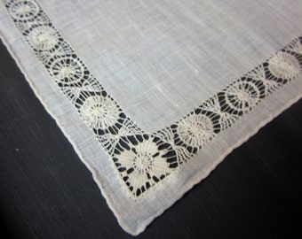 Vintage Hanky, Handkerchief, Fine Ivory Cotton, Cut Work, Wedding, Handmade