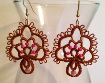 Tatting – Needle Tatted Tree of Life Earrings - Brown and Pink