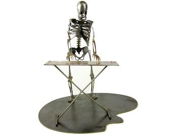 Zombie Skeleton Playing Electronic Keyboard Piano Metal Sculpture