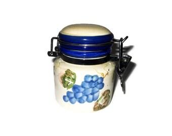Vintage Ceramic Jam or Marmalade Pot, Preserve Pot, Blue White China