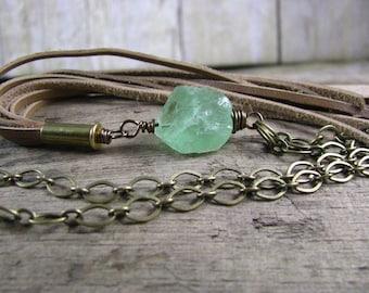 Raw Fluorite Necklace - Semiprecious Stone - Green Stone Pendant - Raw Stone Necklace - Nugget Necklace - Rough Fluorite - Leather Jewelry