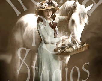 Jen and Poet-Woman and Horse-French Postcard-Digital Image Download