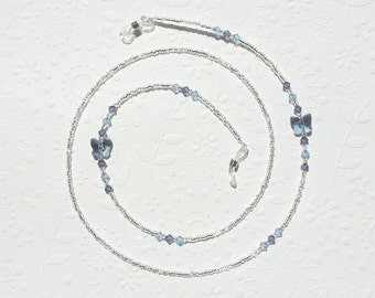 Eyeglass Chain - Blue Butterfly, Swarovski Crystal and Silver