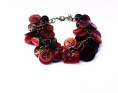 Bracelet Button Charm Bracelet in Deep Red, Burgundy and Maroon