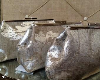 Bridesmaid Clutches Burlap/Linen Inspired Silver