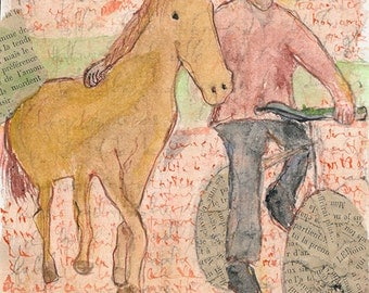 SALE - Friendship (Man with horse) - Original mixed media artwork, affordable art gift idea for horse lover