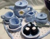 Crochet  Blue & White Tea Set