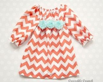 Coral Chevron Girls Dress - Coral and Aqua - Girls Dresses - Girls Chevron Dress - Baby Girl Dress - Baby Girl Chevron Dress - Fall Dress