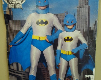 "Adult Batman Costume Sewing Pattern, Hood, Cape, Jumpsuit, Belt, Cuffs, Boots, Vintage 1980s, Butterick 4201 Size XS S M L(Chest 30-44"")"