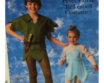 "Adult Peter Pan Costume Pattern, Tinker Bell, Shaped Hem Tunic, Cap, Shoes, Wings, Simplicity No.7784  Medium Chest 36-38""(92-97cm)"