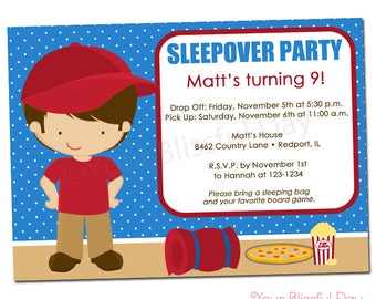 PRINTABLE Boy Sleepover Party Invitation #511