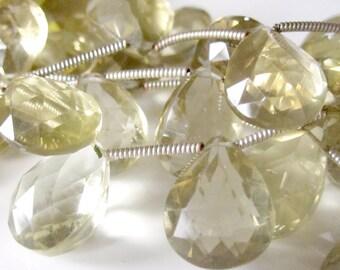 Citrine Briolettes, Champagne Citrine, Pear Briolette, Large Gemstone, 13mm - 14mm, Large Briolette, November Birthstone, Half Strand
