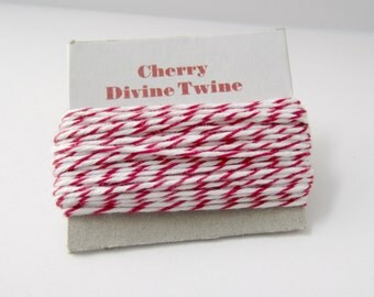 Cherry Divine Twine- 10 yards, red and white twine, red cotton string, red bakers twine, red striped twine, red divine twine