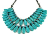 Turquoise Statement Bib Necklace, Collar Necklace, Bib Necklace,  Tribal Style Stone Jewelry with Freshwater Pearls