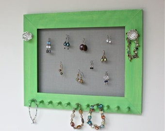Earring Holder Jewelry Wall Display painted Apple Green with Screen.