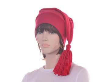 Red Stocking Cap Elf Hat with Red Tassel Men Women Red Phrygian Cap