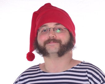 Mr Smee Hat Red Stocking Cap with Pompom Mens Womens  Long Beanie Fleece Elf Hat Long Red Tail Hat with Fuzz Ball Unisex Adult