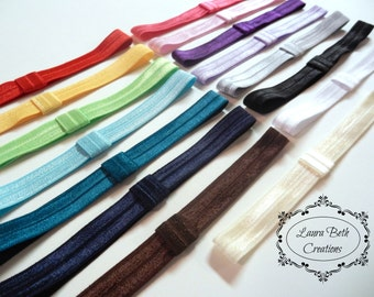 "Set of 10 Interchangeable Fold Over Elastic (FOE) Headbands, 5/8"" Headband Set, Newborn Headband, Childrens Headband, Baby Headband, Womens"