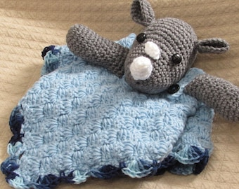 Rhino Lovey / security blanket, crochet rhino blanket,