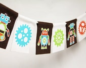 Robots & Gears felt party banner or room decoration