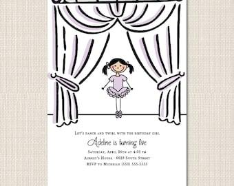 BALLERINA BIRTHDAY Invitation - DEPOSIT