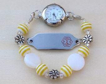 Interchangeable Yellow and White Watch or Medical ID Bracelet Band