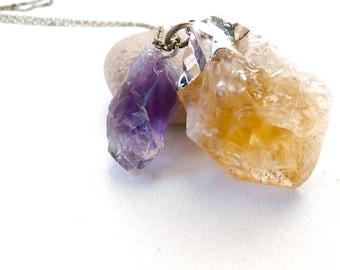 dragon long necklace pendant amethyst and citrine stone ( purple, orange, one of a kind, original, ishtar, rough ) 02