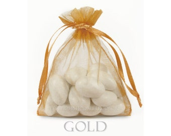 10 Gold Organza Bags, 12 x 14  Inch Sheer Fabric Gold Favor Bags
