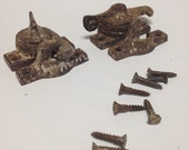 Antique eagle claw window sash locks, two sets with ALL hardware
