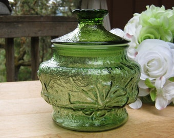 Avocado Green Rainflower Canister by Anchor Hocking - Storage Jar - Oak Hill Vintage
