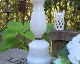 SALE Hobnail White Milk Glass Lamp - Vanity Romantic Lighting - Oak Hill Vintage