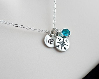 Compass Charm Initial Necklace, Birthstone Initial Necklace, Compass Charm, Birthstone Necklace, Personalized Gift, Mother Grandmother Gift