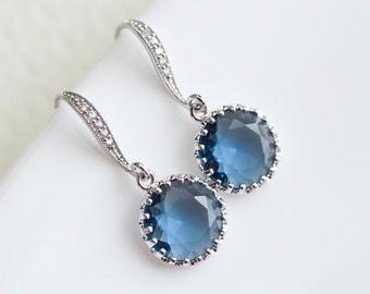 Sapphire Blue Earrings, Wedding Earrings,Bridesmaid Earrings,Bridal Jewelry,Cubic Zirconia Earwires and Montana Blue Sapphire Glass Earrings