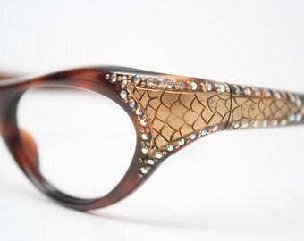 Rhinestone Vintage Cat Eye Glasses Unused