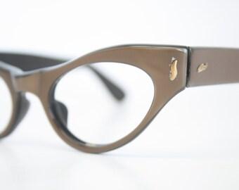 Brown cat eye glasses vintage cateye frames eyeglasses 1950s glasses