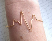Heartbeat Bangle Adjustable EKG Beat Pulse Gold Silver Copper Bride Bridesmaid Girlfriend Nurse Doctor Jewelry Gifts Under 15