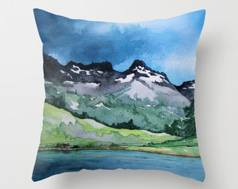 Decorative Pillow Cover - Mountain Painting - Throw Pillow Cushion - Home Decor
