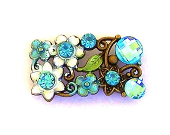 1 large aqua floral 2 hole slider bead or spacer, light turquoise two hole bead, blue rectangle