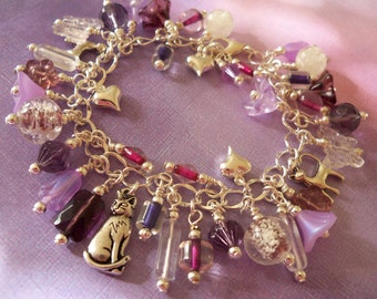 Cat Charm Bracelet, Glow in the Dark, Kittehs in the Garden, Purples
