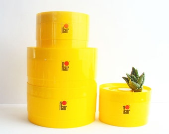 Set of 1970s Yellow Flair Kitchen Canisters, Retro Kitchen Decor, 70s Kitchen, Bright Yellow, Stackable Canisters, Kitchen Storage