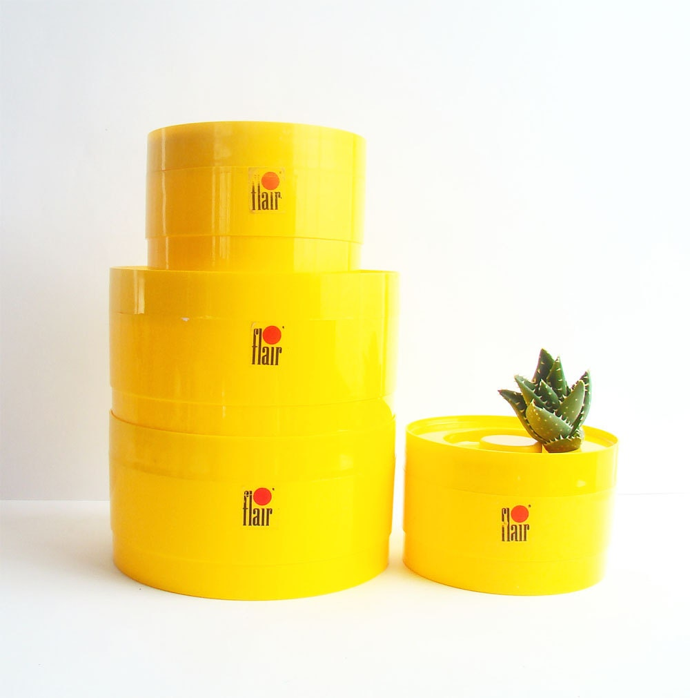 1970s kitchen canisters bright yellow flair stackable