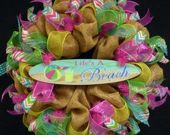 Beach Wreaths, Beach House Wreath, Poly Mesh, Life's A Beach, Deco Mesh Wreath (1180)