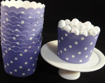 Purple with White Polka Dot Baking Cups, Candy Cups, Nut Cups, Weddings, Party Cups, Candy Buffets, Wedding Cupcakes, Favor Cups, QTY 12